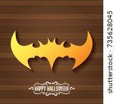vector halloween golden bat... | Shutterstock .eps vector #735628045