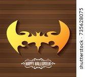 vector halloween golden bat... | Shutterstock .eps vector #735628075