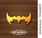 vector halloween golden bat... | Shutterstock .eps vector #735628099
