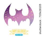 vector halloween abstract bat... | Shutterstock .eps vector #735628105