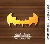 vector halloween golden bat... | Shutterstock .eps vector #735628165