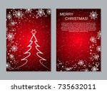 christmas and new year two... | Shutterstock .eps vector #735632011