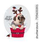 christmas card. pug dog in a... | Shutterstock .eps vector #735633301