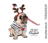 Christmas Card. Pug Dog In A...