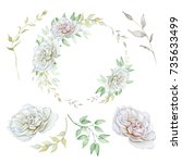 hand drawn watercolor set with... | Shutterstock . vector #735633499
