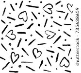 hand drawn pattern of hearts... | Shutterstock .eps vector #735638659