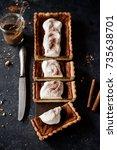 fresh pumpkin pie on dark ...   Shutterstock . vector #735638701
