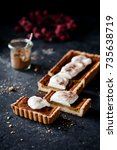 homemade pumpkin pie on dark ...   Shutterstock . vector #735638719