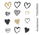 hand drawn gold and black... | Shutterstock .eps vector #735639034