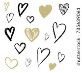 hand drawn gold and blackhearts ... | Shutterstock .eps vector #735639061