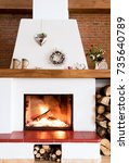 rustic fireplace  house... | Shutterstock . vector #735640789