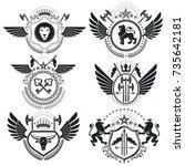 heraldic designs  vector... | Shutterstock .eps vector #735642181