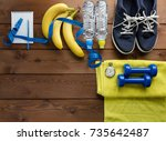fitness concept with sneakers... | Shutterstock . vector #735642487