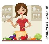 woman in kitchen  vector... | Shutterstock .eps vector #73564285