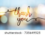 thank you  vector lettering on... | Shutterstock .eps vector #735649525