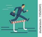 businessman confidently jump... | Shutterstock .eps vector #735650491