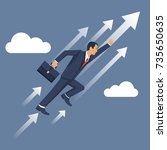 businessman is flying up.... | Shutterstock .eps vector #735650635