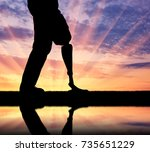 the man with the prosthetic leg ... | Shutterstock . vector #735651229