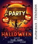 halloween party cartoon | Shutterstock .eps vector #735656044