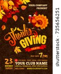 thanksgiving poster template.... | Shutterstock .eps vector #735656251
