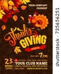 thanksgiving poster template.... | Shutterstock .eps vector #735656251