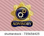 gold badge with gear  team... | Shutterstock .eps vector #735656425