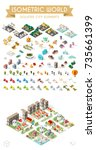 set of isometric high quality... | Shutterstock .eps vector #735661399