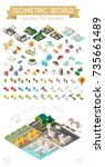 set of isometric high quality... | Shutterstock .eps vector #735661489
