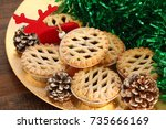 Christmas Mince Pies On A Gold...