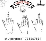 vector halloween set of the...   Shutterstock .eps vector #735667594
