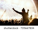 girl enjoying the outdoor music ... | Shutterstock . vector #735667834