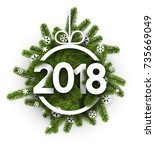 white 2018 new year card with... | Shutterstock .eps vector #735669049
