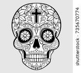 sugar skull with floral design...   Shutterstock .eps vector #735670774