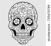 sugar skull with floral pattern ... | Shutterstock .eps vector #735670789