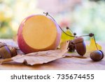 Small photo of Cut apple with other decorationss