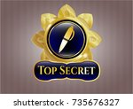 golden emblem with pen icon... | Shutterstock .eps vector #735676327