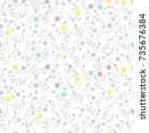 cute flowery pattern. classical ... | Shutterstock .eps vector #735676384