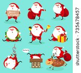 santa claus  christmas set | Shutterstock .eps vector #735678457