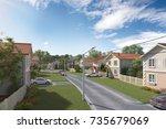 modern village complex for... | Shutterstock . vector #735679069