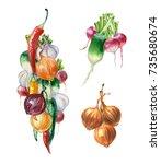 watercolor painting. garland... | Shutterstock . vector #735680674