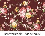 Stock photo beautiful rose flower pattern little flower bouquet vintage with red ground 735682009