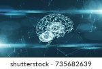 virtual mind of a digital... | Shutterstock . vector #735682639