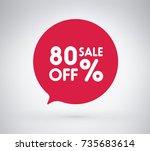 80  offer label sticker  sale... | Shutterstock .eps vector #735683614