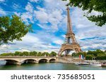 the eiffel tower and the river... | Shutterstock . vector #735685051
