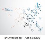 mechanical scheme  vector... | Shutterstock .eps vector #735685309