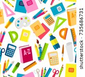 school or office supplies... | Shutterstock .eps vector #735686731