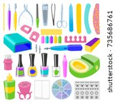 manicure and pedicure foot hand ... | Shutterstock .eps vector #735686761