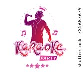 karaoke party flyers vector... | Shutterstock .eps vector #735687679