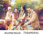 camping  hike and people... | Shutterstock . vector #735690541