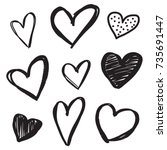 Set Of Six Handdrawn Heart....